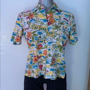 NWOT Erika short sleeve tropical print aloha shirt